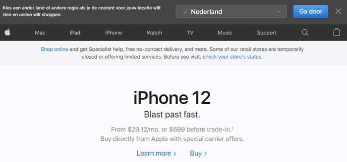 Apple suggesting me to visit a localized part of their website