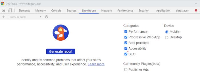 Chrome Devtools Lighthouse tab
