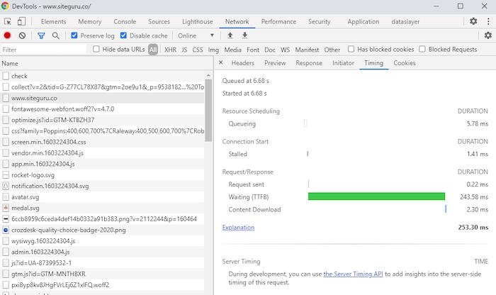 Chrome Devtools network tab