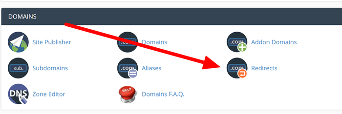cpanel redirect section