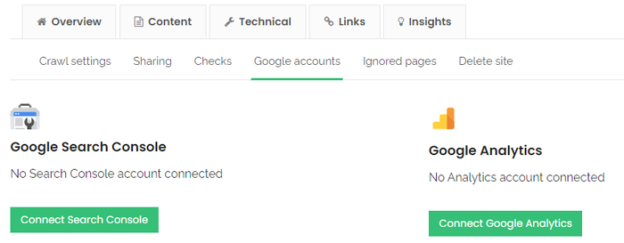 No search console account connected