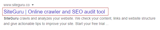 Page title in search result