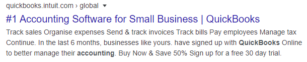 Quickbooks highlights their free trial in the search results