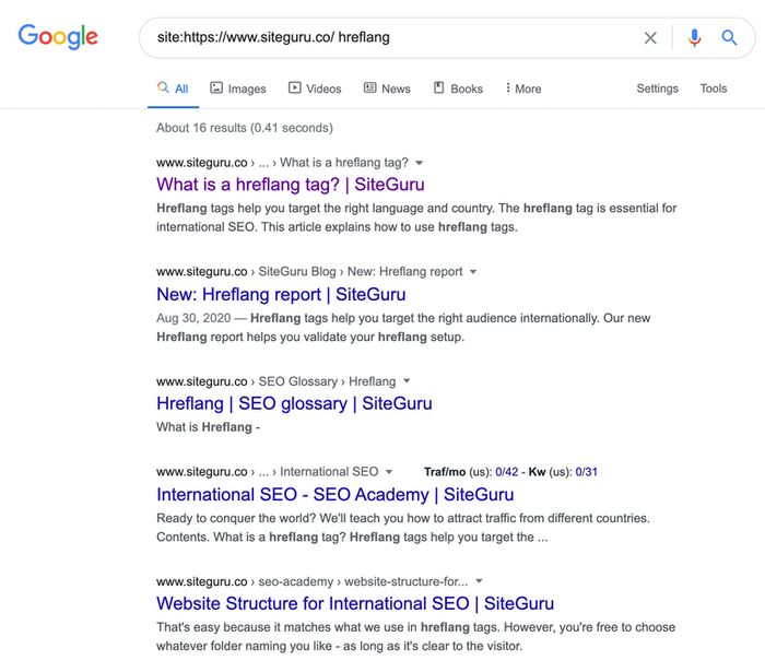 SERP for detecting keyword cannibalization