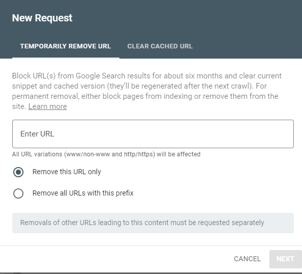 Search Console removal request