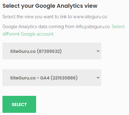 Selecting a Google Analytics view