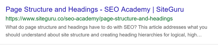 Example of title and meta description in the Search results