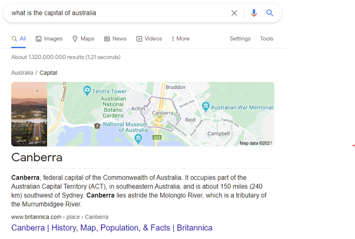 SERP that answers the question