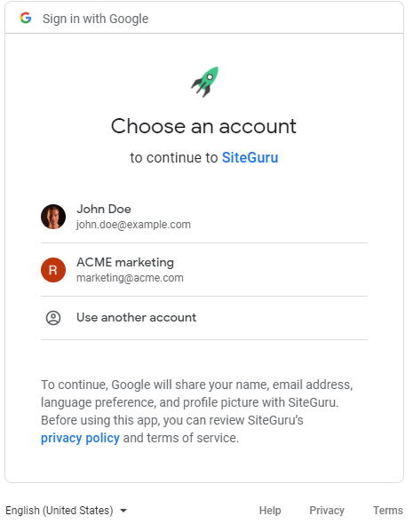 Sign in with Google screen