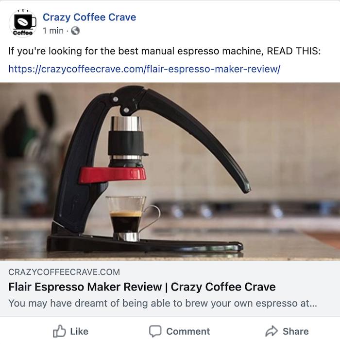 facebook post showing URL