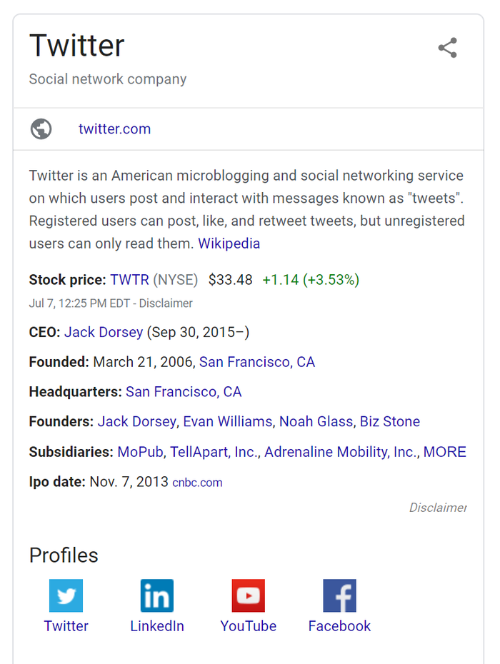 knowledge graph serp example